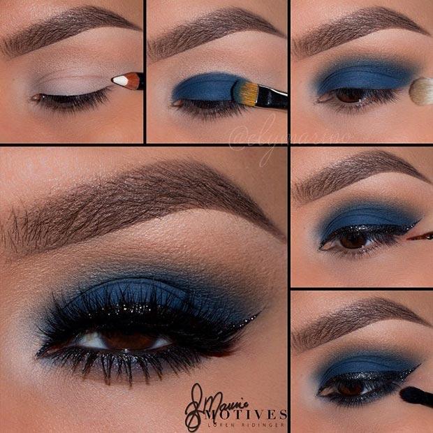 Navy blue eye makeup