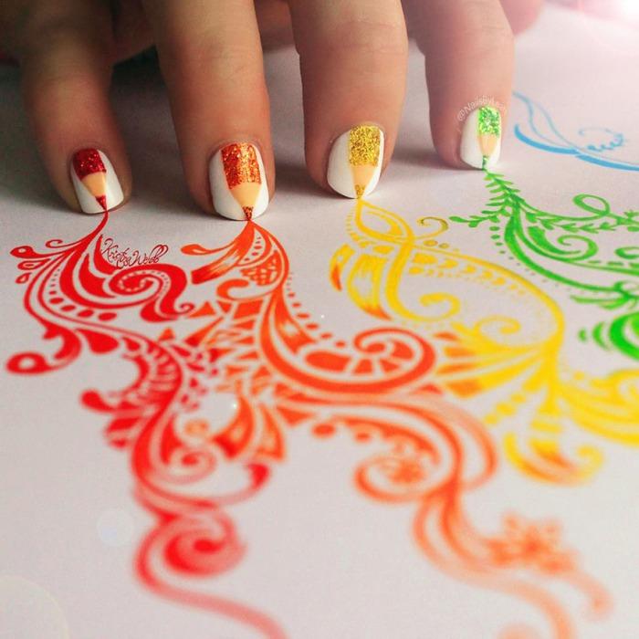 Рисунки на ногти на бумаге