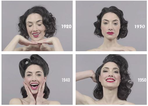 100 Years of Beauty and Hairstyles in 1 Minute