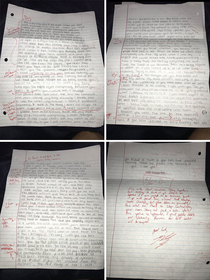 When Your Ex Writes You An Apology Letter So You Grade It To Send It Back