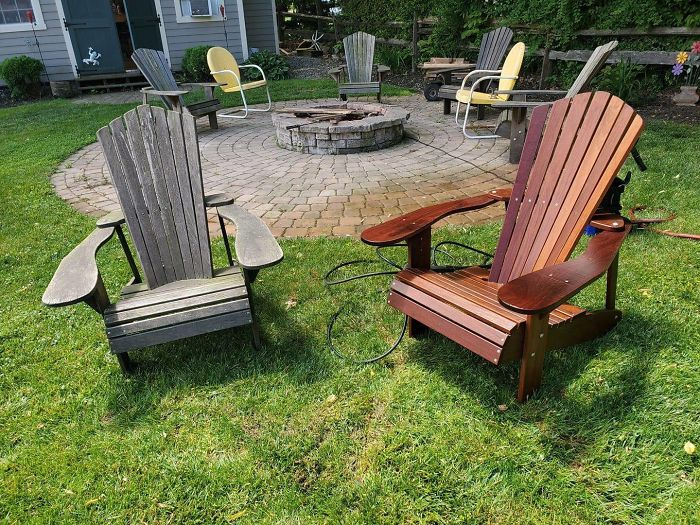 Power Washed These Adirondack Chairs That Have Been Sitting Outside For 30 Years