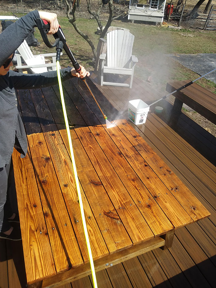Blowing Off The Old Deck Table