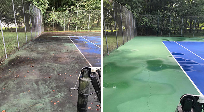 A Little Tennis Court Cleaning We Did This Week