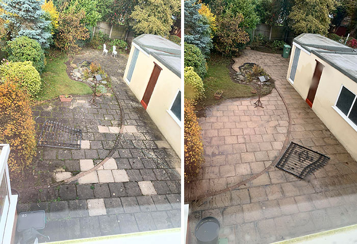 "So I Recently Moved Into My First Home, And Thought ""I Wonder What A Jet Wash Could Do To The Garden, One Karcher K7 Later"