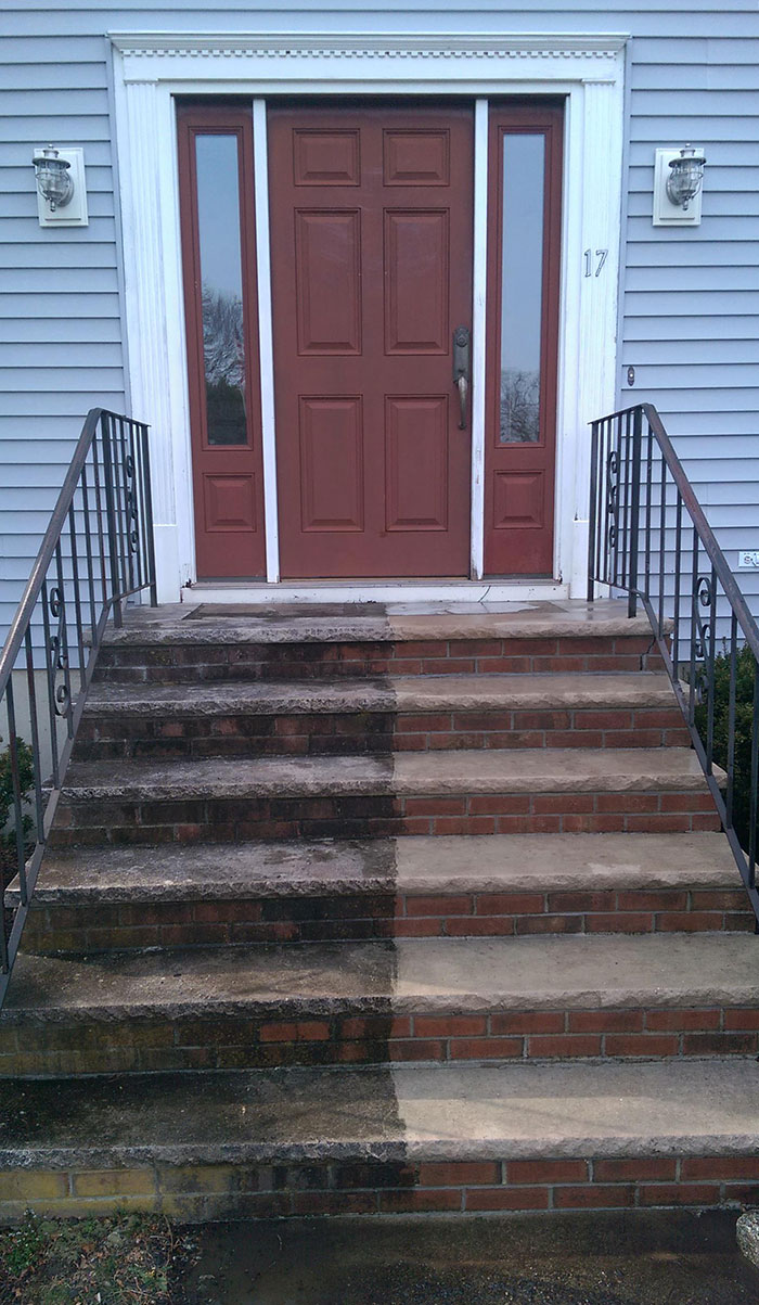 Cleaned Half Of Our Steps To Show Off The Results. I Thought The Stone Was Black