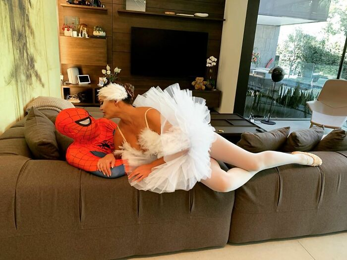 Chrissy Teigen And John Legend As Spiderman And The White Swan