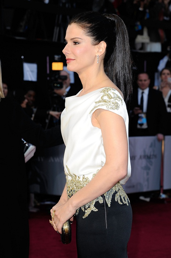 Sandra Bullock sleek pony tail